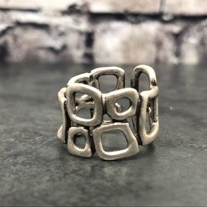 NEW Turkish STACKED SQUARES Silver-tone Ring